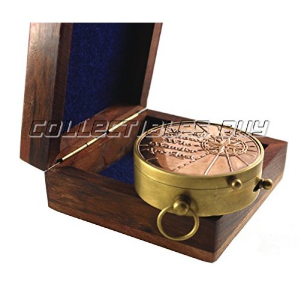 collectiblesBuy Survival Compass 2 an Authentic Quote Compass with Wooden Box - Magnetic Directional Copper Finish, Marine Brass Ship Xmas Gift