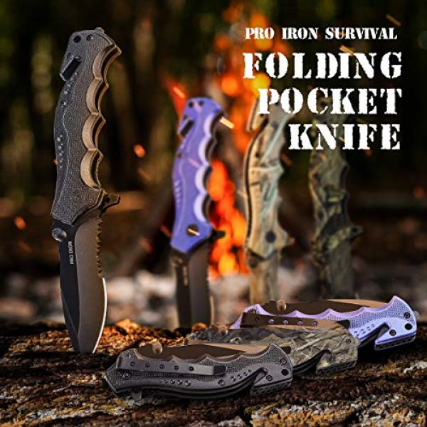 Pro Iron Folding Survival Knife 4 Pro Iron Assisted Opening Serrated Edge Outdoor Survival Camping Hunting Knife Stainless Steel Protective Black Oxide Coating Built-in Seat Belt Cutter and Carry Pocket Clip