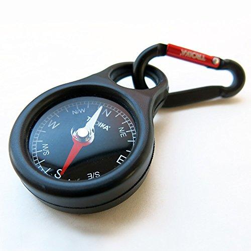 Troika Survival Compass 5 Troika WEGWEISER COS10/BK Keyring with Compass incl. Carabiner PVC/Acrylic/ABS/Aluminium red, Black Original