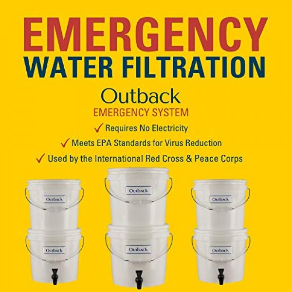 Outback Survival Water Filter 6 Outback Emergency Water Filtration Bundle: Portable Gravity Filter Plus + Extra Filter Replacement Kit - Removes Viruses & Bacteria 99.99%