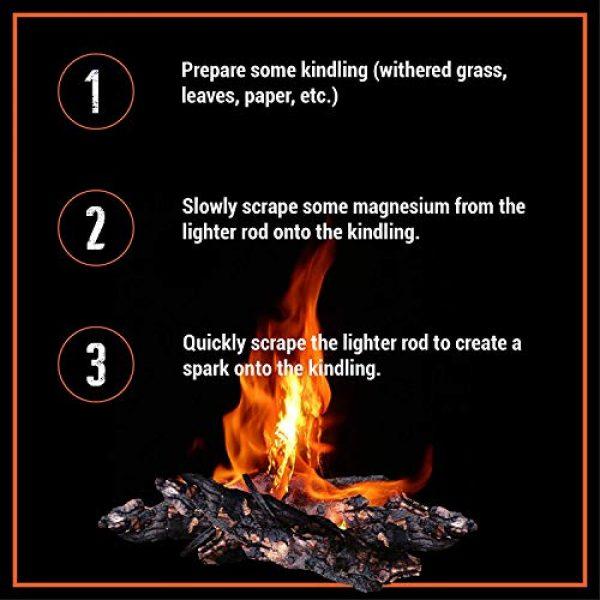"WESTLAKE Survival Fire Starter 7 WESTLAKE Set of Two Survival 5/16"" Ferrocerium (Ferro) Rods Flint Fire Starter Kits with Wood Handles and Steel Strikers"