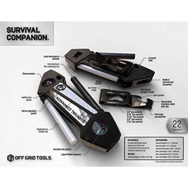 Off Grid Tools Survival Fire Starter 5 Off Grid Tools Survival Companion Pro Aluminum Fire Starter & Camping Multi Tool, Gun Metal Grey