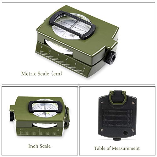 YEHOBU Survival Compass 5 YEHOBU Hiking Compass, Military Compass, Multifunctional Lensatic Compass, Waterproof Navigation Compasses, Survival Emergency Luminous Sighting Compass