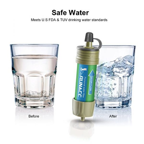 RUNACC Survival Water Filter 5 RUNACC Water Filter Straw Camping System with Ball Pump Fast Drinking and Backflushing Design, 2000L Water Purifier Survival Kit Hurricane Storm Supplies