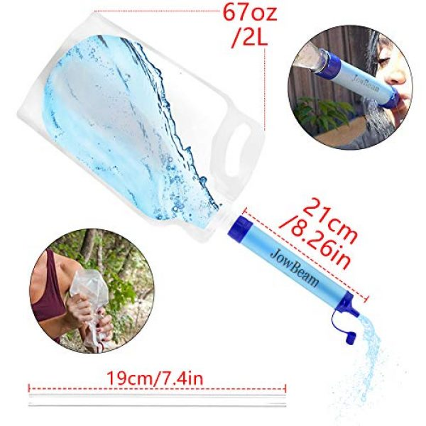 Jowbeam Survival Water Filter 2 Jowbeam Camping Straw Water Filter-Hiking Survival Purifier Kit (Upgraded Version)