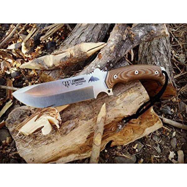 Cudeman Fixed Blade Survival Knife 4 Cudeman Survival Knife ENTRESIERRAS 155-XC MOVA with Brown Leather Sheath, Sport Use, Complete Kit, Camping Tool for Fishing, Hunting, Sport Activity + Multi-Purpose Gift Card