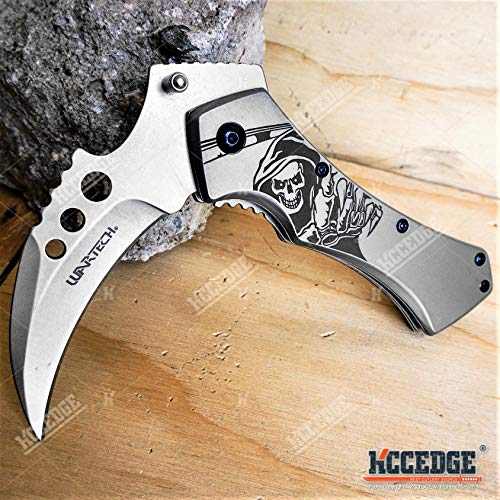 KCCEDGE BEST CUTLERY SOURCE  7 KCCEDGE BEST CUTLERY SOURCE Pocket Knife Camping Accessories Survival Kit 5 Inch Grim Reaper Scythe Tactical Knife Hunting Knife Camping Gear 78364