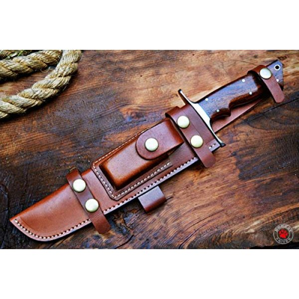 Bobcat Knives Fixed Blade Survival Knife 6 Bobcat Knives Custom Handmade Damascus Steel Bowie Knife with Leather Sheath