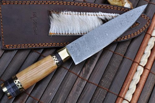 Perkin Knives  2 Perkin Knives - Custom Handmade Damascus Hunting Knife - Beautiful Kitchen & Camping Knife