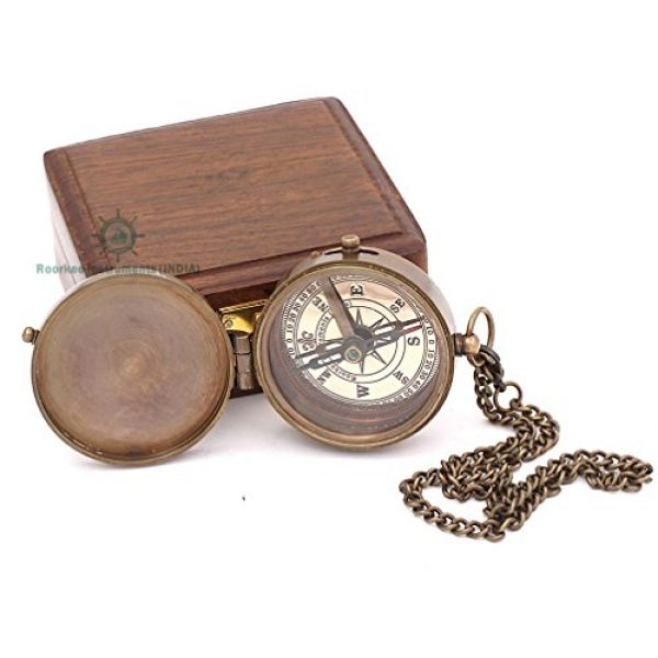 Roorkee Instruments India Survival Compass 4 Roorkee Instruments India Engravable Brass Magnetic Compass with Wood Case