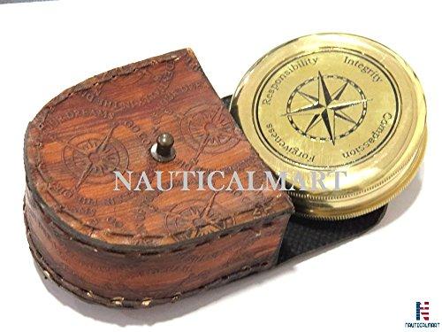 NauticalMart Survival Compass 2 NauticalMart Vintage Brass Compass with Nautical Gift Case Integrity, Responsibility, Forgiveness, Compassion Maritime