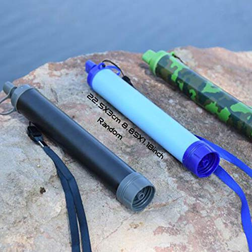 EOPER  2 EOPER Personal Water Filter Portable Survival Purifier Filtration Membrane Activated Charcoal Outdoor Drinking Equipment for Camping Hiking Hunting Fishing Travel 1 Pieces Blue