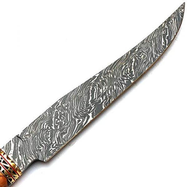 PAL 2000 KNIVES Fixed Blade Survival Knife 4 Beautiful Damascus Knives Best Hand Forged Damascus Steel Knife with Sheath Sharp Edge Blade New Pattern Rosewood, Olive Wood Handle - STNN-9277