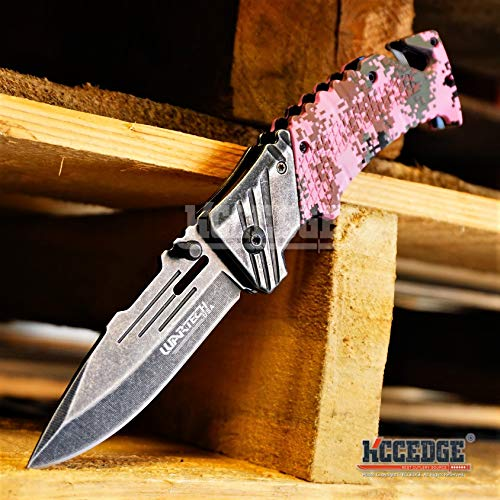 KCCEDGE BEST CUTLERY SOURCE  4 KCCEDGE BEST CUTLERY SOURCE Pocket Knife Camping Accessories Survival Kit Razor Sharp Edge Camouflage Folding Knife with Glass Breaker Cord Cutter Camping Gear 56843