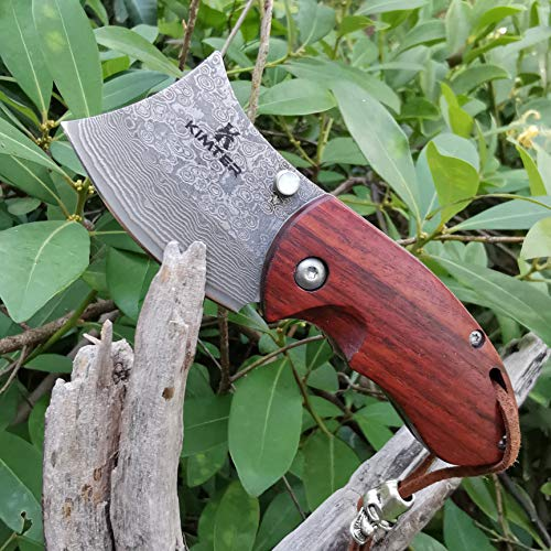 Kimter  7 Kimter Handmade Mini Pocket Knife 4.13 Inch Rosewood Handle Tactical Knife with Liner Lock EDC for Camping Hunting Gifts/Collections