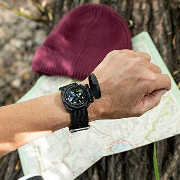 Sun Company Survival Compass 3 Sun Company ArmArmour 1 - Shielded Wrist Compass with Rugged Tactical Strap | Compass with Cover and Zulu Strap