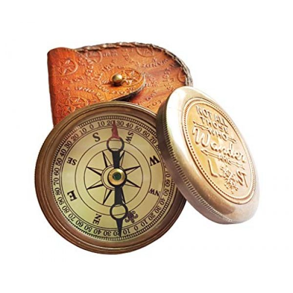 """Brass Nautical Survival Compass 2 Brass Nautical - """"Not All Those Who Wander Are Lost"""" Magnetic Compass Graduation Confirmation Day Gift compass Marine Antique Replica Vintage Magnetic Direction Antique Compass"""