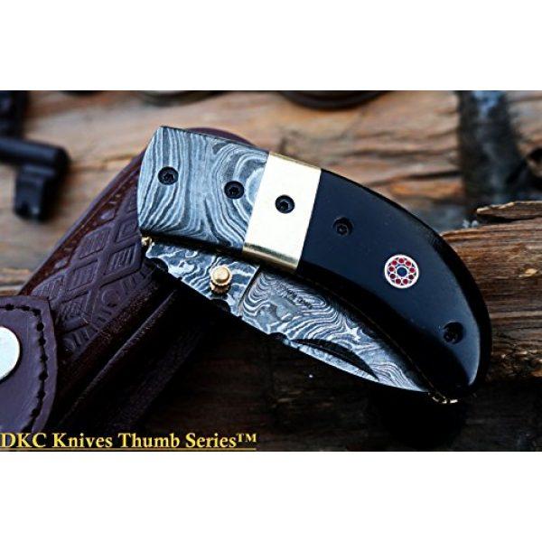 """DKC Knives Folding Survival Knife 2 (8 6/18) Sale DKC-43 Black Thumb Damascus Steel Folding Pocket Knife 3.5"""" Folded 6.25"""" Open 7.5oz 2.25"""" Blade Black Buffalo Horn Damascus Bolster"""