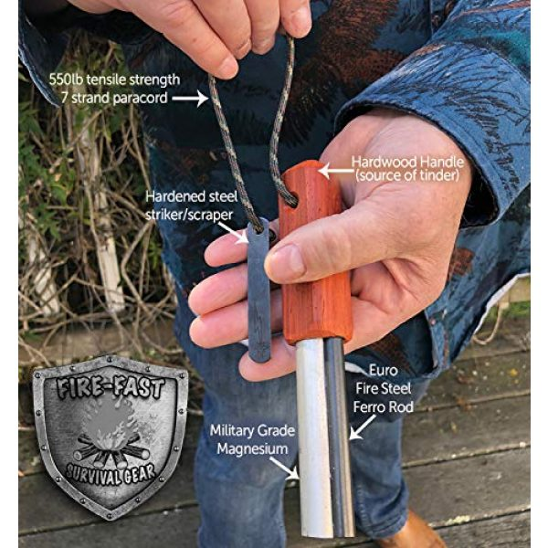 Fire-Fast Survival Fire Starter 2 Fire-Fast Trekker. Best Emergency Waterproof Survival Fire Starter. Magnesium and Euro Fire Steel Ferro Rod. Compact Durable Tool for Bushcraft, Camping, Backpacking, Hiking, Hunting, or Bug Out Bag.
