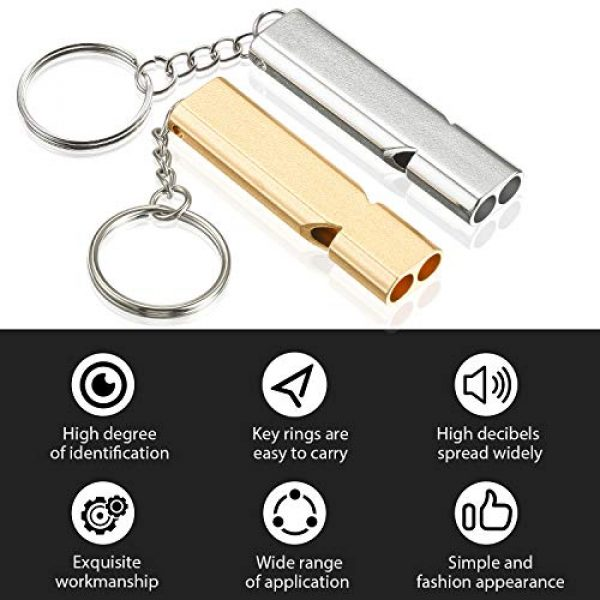 Frienda Survival Whistle 3 10 Pieces Emergency Whistles Safety Survival Whistles High Pitch Double Tubes Metal Whistle for Outdoor Camping Hiking Boating Hunting Fishing (Gold and Silver)