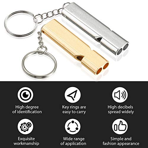 Frienda  3 10 Pieces Emergency Whistles Safety Survival Whistles High Pitch Double Tubes Metal Whistle for Outdoor Camping Hiking Boating Hunting Fishing (Gold and Silver)