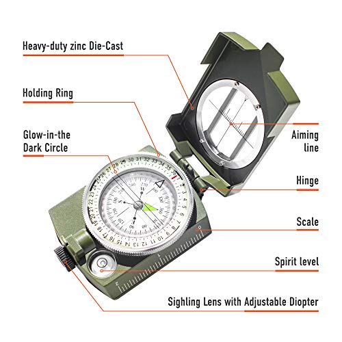 TurnOnSport Survival Compass 4 Lensatic Military Compass Hiking - Tritium Compass Military Grade style Camping Backpacking - Tactical Army Green Compass Survival Navigation - Hiking Waterproof Sighting Compass with Pouch