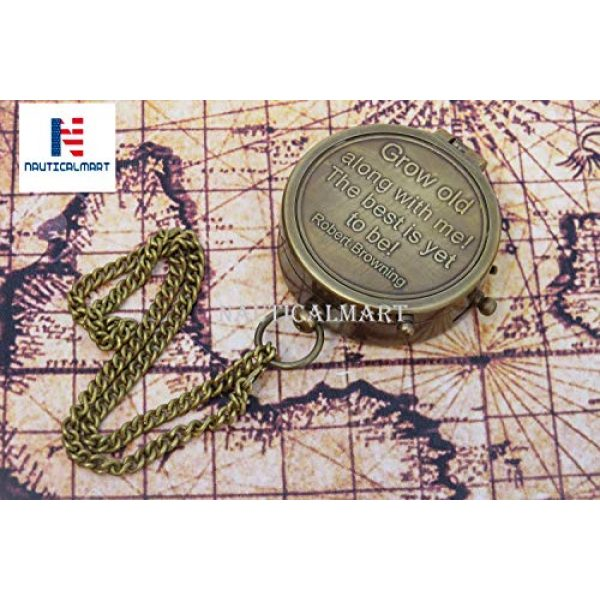 NauticalMart Survival Compass 4 NauticalMart Grow Old Along with Me Engraved Brass Compass with Chain and Leather case Gift for Wedding, Anniversary, Baptism, Retirement, or Christmas - Vintage Style Working Compass