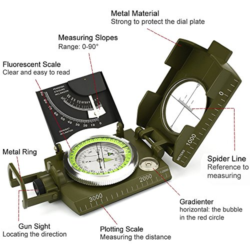ydfagak Survival Compass 2 ydfagak Compass Waterproof Hiking Military Navigation Compass with Fluorescent Design,Perfect for Outdoor Activities