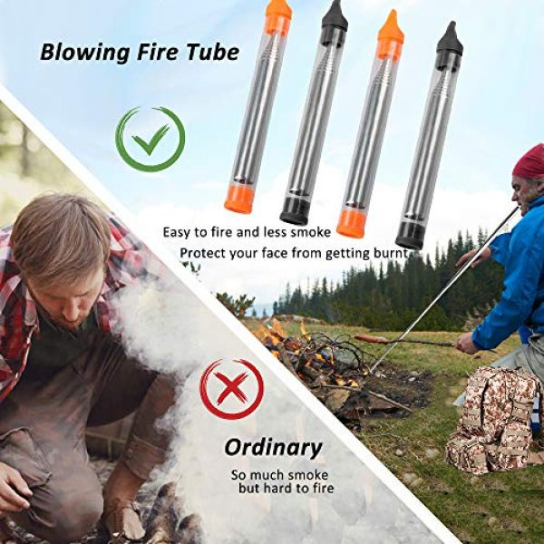 AUHOKY Survival Fire Starter 5 AUHOKY Pocket Size Fire Bellows Gear, Collapsible Fire Blower Pipe Campfire Tool Builds Fire, Premium Stainless Steel Fire Bellowing Tube for Outdoor Camping Traveling Fireplace (Black+Orange)