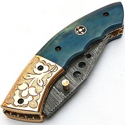 PAL 2000 KNIVES  7 8840 Custom Handmade Damascus Steel - Folding Knife - Amazing File Work - with Sheath