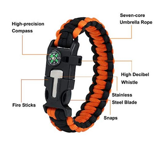 WEREWOLVES Survival Paracord Bracelet 4 WEREWOLVES Survival Paracord Bracelets,Professional Personal EDC Tactical Bracelet,Multifunction Camping Hiking Gear with Compass, Fire Starter, Whistle and Emergency Knife