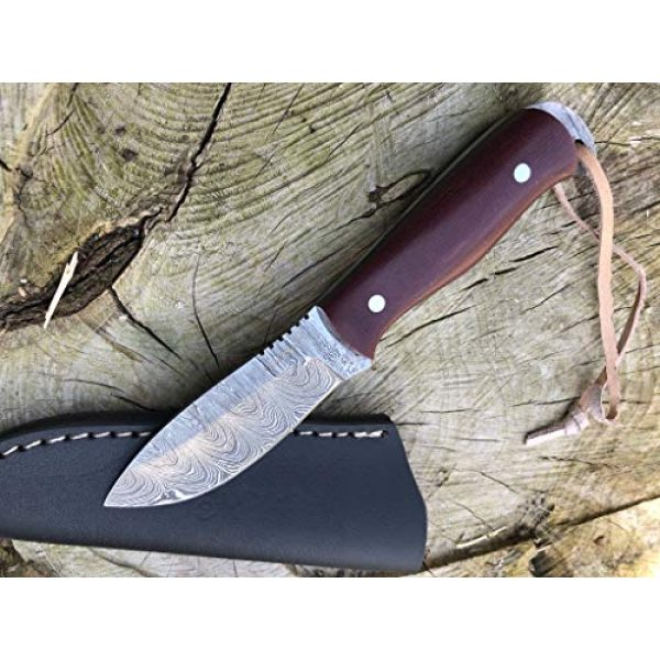 Perkin Fixed Blade Survival Knife 2 Perkin Damascus Steel Hunting Knife with Sheath Skinning & Bushcraft Knife - SK400