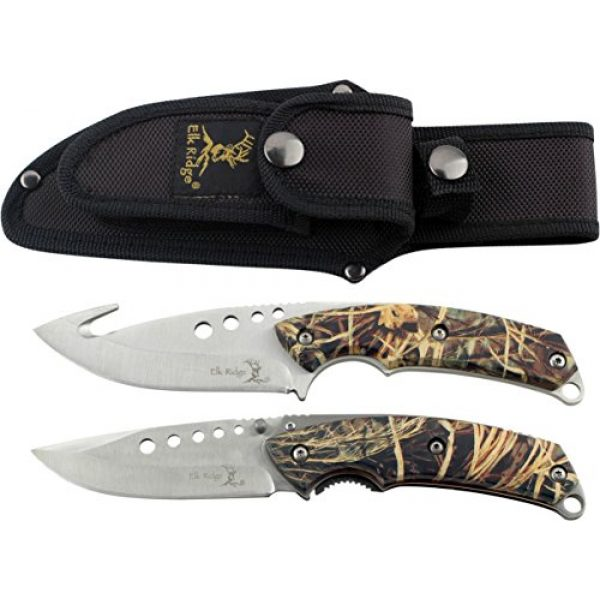 Elk Ridge Fixed Blade Survival Knife 2 Elk Ridge - Outdoors Hunting Knife Set- 2 PC Fixed Blade and Folding Knife Set, Satin Finished Stainless Steel Blades, Camo Coated Handles, Includes Combo Nylon Sheath - Hunting, Camping, Survival - ER-054CA