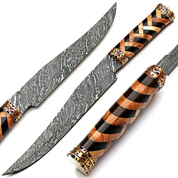 PAL 2000 KNIVES Fixed Blade Survival Knife 2 Beautiful Damascus Knives Best Hand Forged Damascus Steel Knife with Sheath Sharp Edge Blade New Pattern Rosewood, Olive Wood Handle - STNN-9277