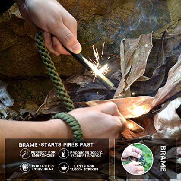 Brame Survival Fire Starter 5 Brame Ferro Rod 6 inch x 1/2 inch Fire Starter and Emergency Bracelet with Compass and Whistle, Fire Starting Survival Gear HSS Steel Scraper Ferrocerium Rod Kit with 9 ft Paracord and Carabiner