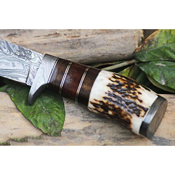 BLACK MAMBA KNIVES Fixed Blade Survival Knife 3 Black Mamba Knives BMK-101 Eagle 8.5 Long 4 Blade 7 Ounce Blade Damascus Hunting Fixed Blade Knife With Antler Hand Made Damascus Word Class Knives