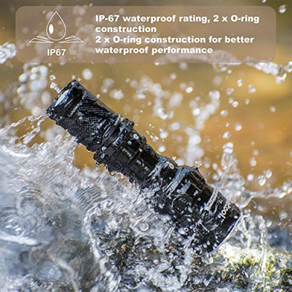 Weltool Survival Flashlight 3 Weltool T7 AA Compact Tactical Flashlight Long Throw IP67 Waterproof 659ft Powered by 14500 AA Battery Impact-Resistant for Hunting Remington 870, Mossberg 500 Neutral White/Cool White