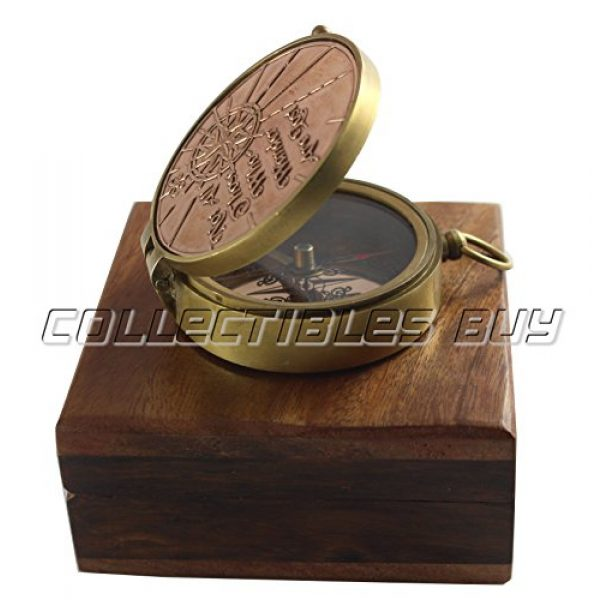 collectiblesBuy Survival Compass 6 an Authentic Quote Compass with Wooden Box - Magnetic Directional Copper Finish, Marine Brass Ship Xmas Gift