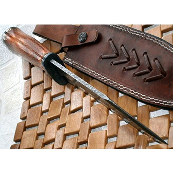 Poshland Fixed Blade Survival Knife 4 REG-215 - Handmade Damascus Steel 14.00 Inches Bowie Knife - Exotic Wood Handle (Color/Case Vary)