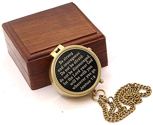 Roorkee Instruments India Survival Compass 5 Roorkee Instruments India Be Strong and Courageous Do not be Afraid,Engraved Compass W/Wood Case, Confirmation Gift Ideas, Baptism Gifts