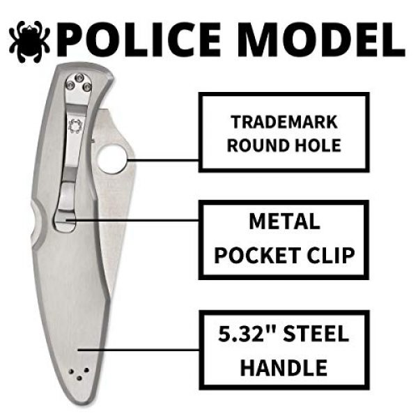 """Spyderco Folding Survival Knife 4 Spyderco Police Model Signature Folding Knife with 4.15"""" VG-10 Steel Blade and Premium Stainless Steel Handle - CombinationEdge - C07PS"""