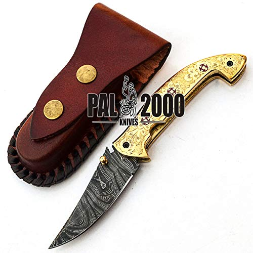 PAL 2000 KNIVES  4 Custom handmade Damascus Steel Hunting Folding Pocket knife 7.4 Inches Brass Handle with Leather Sheath Amazing art Fishing Knife Camping Knife Hand Forged Bushcraft New Pattern Blade 9595