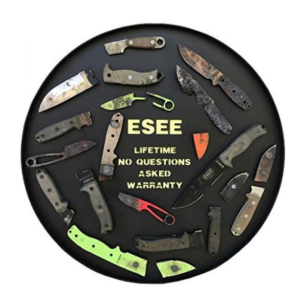 """ESEE Fixed Blade Survival Knife 7 Esee Knives, James Gibson Pinch Fixed Neck Knife, 1.30"""" 1095 Black Oxide Stonewashed Blade"""