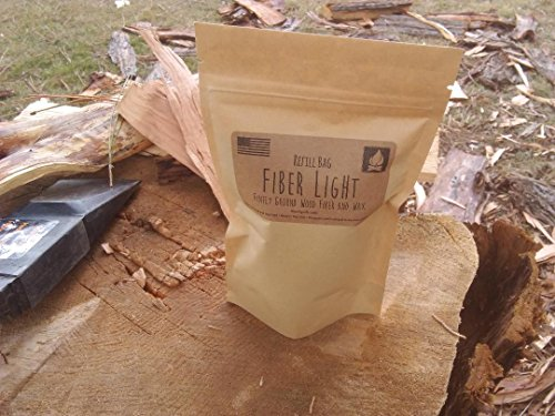 Fiber Light Fire Starters Survival Fire Starter 2 Fiber Light Natural Wood Fiber Fire Tinder Refill Bag, Water Resistant Outdoor Camping Survival Fire Starter