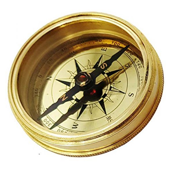 Brass Nautical Survival Compass 5 Brass Nautical - Go Confidently in The Direction of Your Dreams Thoreau's Quote Compass W/Case