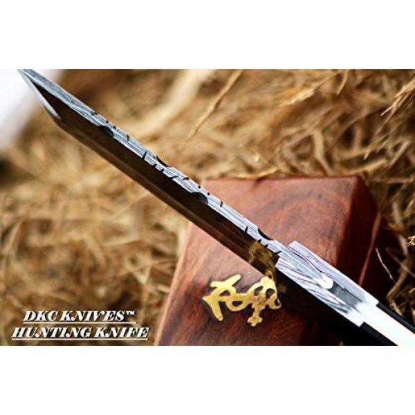 "DKC Knives Fixed Blade Survival Knife 7 DKC-524-DS Tanto Sky Damascus Hunting Knife 10"" Long 10 oz Black Handle 5"" Blade"