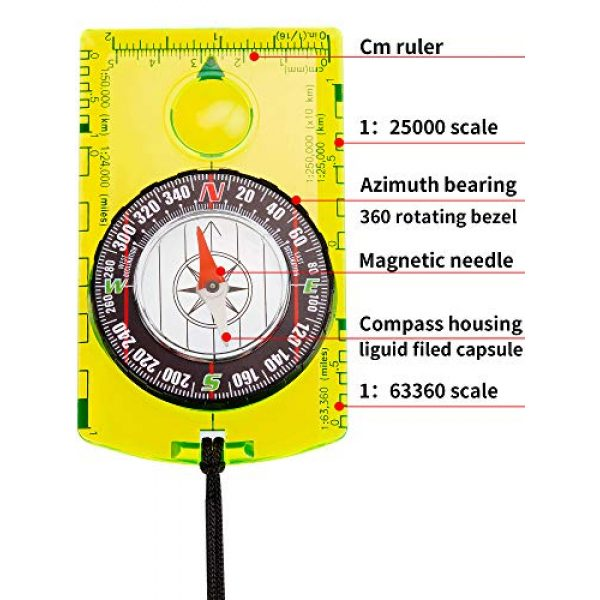 Gejoy Survival Compass 4 Gejoy 4 Pieces Navigation Hiking Compass Orienteering Backpacking Compass Waterproof Map Reading Compass for Boy Scout Kids Outdoor Camping (Style 1)