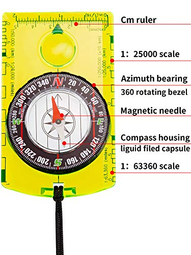 Gejoy  4 Gejoy 4 Pieces Navigation Hiking Compass Orienteering Backpacking Compass Waterproof Map Reading Compass for Boy Scout Kids Outdoor Camping (Style 1)