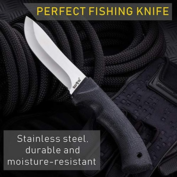 Grand Way Fixed Blade Survival Knife 4 Grand Way Tactical Knife - Survival Bushcraft Fixed Blade Knife with Elastron Handle for Hunting and Fishing - Best Bowie Big Blade Knife for Self Defense 01085
