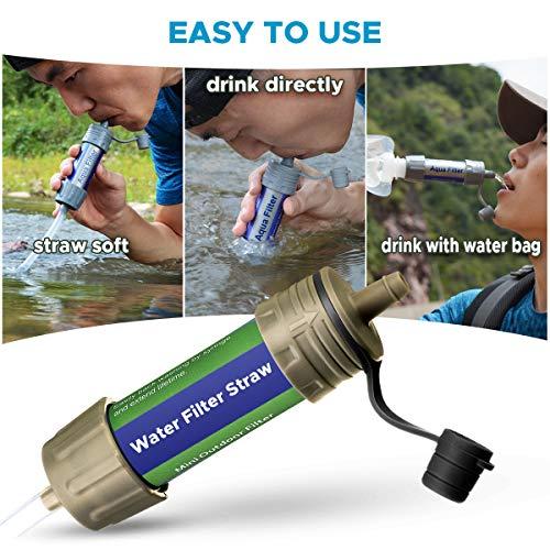 SGODDE  7 SGODDE Gravity Water Filter Straw Ultralight Versatile Hiker Water Filter Optional Accessories. Hurricane Storm or Flood Risk Supplies Emergency Kit